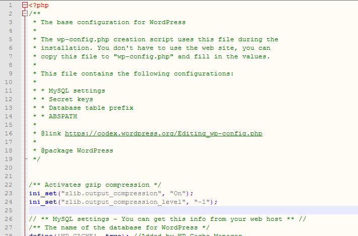 Wordpress activate gzip compression : Add code in the wp.config.php file