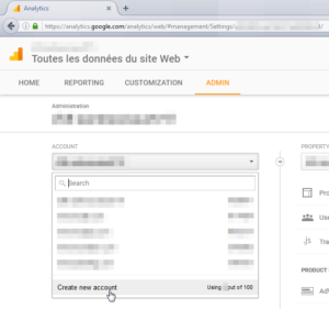 Google Analytics how to add a website to your account and get a Tracking ID : Create new account button in admin tab