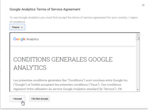 Google Analytics how to add a website to your account and get a Tracking ID : Read terms and conditions