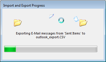 How to export email addresses in MS Outlook : Import and Export progress bar
