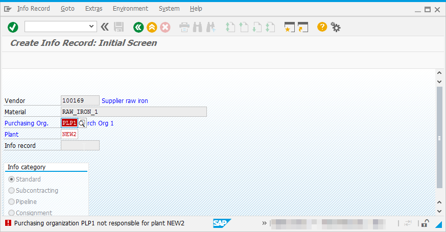 How to solve SAP Purchasing organization XX not responsible for plant YY : Error in Purchase Info Record creation screen