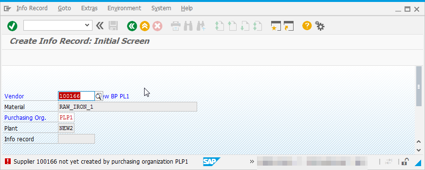SAP PIR creation how to solve Supplier 123 not created by purchasing organization XX : Error during purchase info record creation
