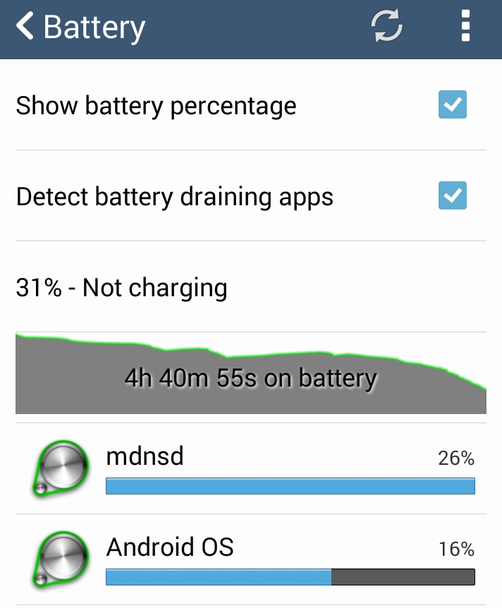 Android - Facebook not responding / process mdnsd draining battery : Process mdnsd using most of the battery