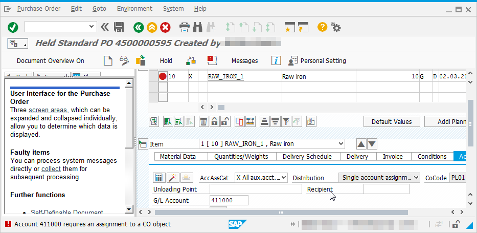 SAP solve KI248 Account requires an assignment to a CO object : Error occurring when creating a purchase order