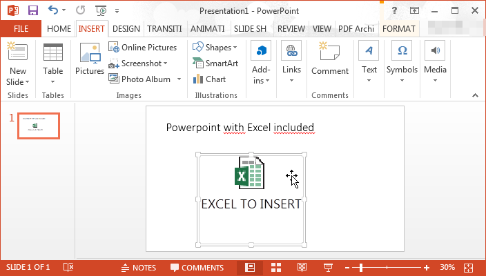 How to insert / include an Excel spreadsheet in a Powerpoint presentation : Excel spreadsheet embed in Powerpoint presentation