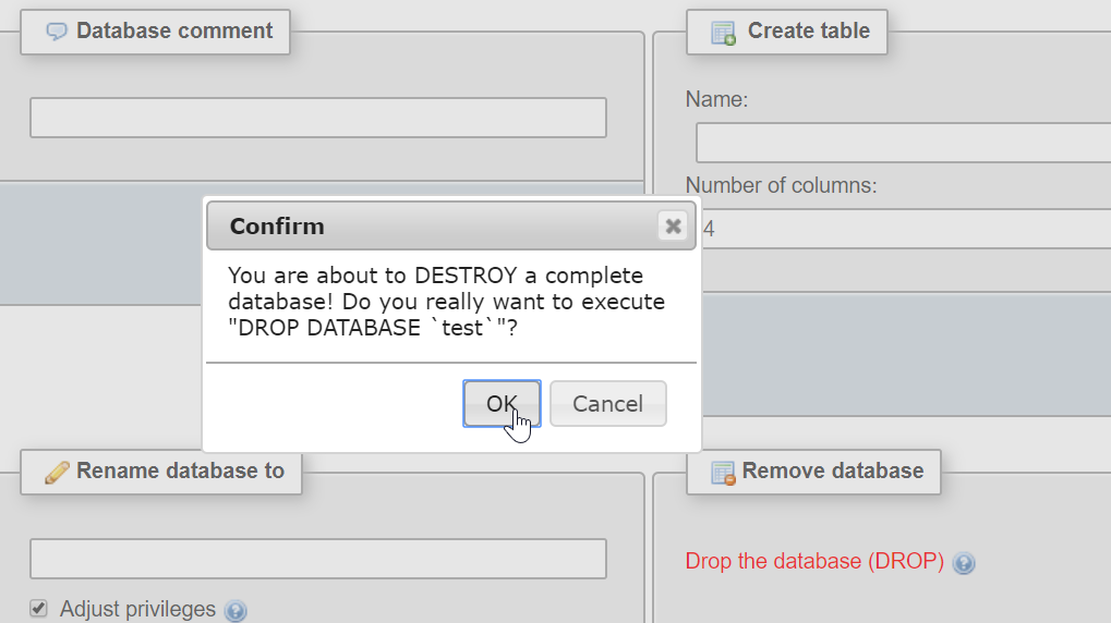 How to delete a database in phpMyAdmin : Confirm database deletion