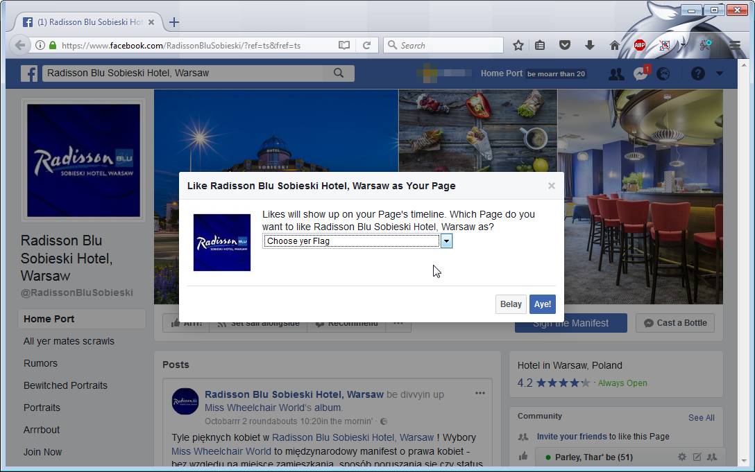 Facebook like as your page : How to like as a page on facebook
