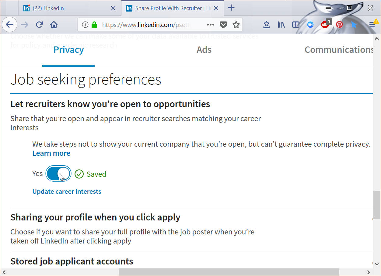 LinkedIn actively seeking employment setting : how to let recruiters find you on LinkedIn