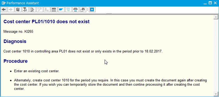 Cost center does not exist : Cost center does not exist message number KI265 ...
