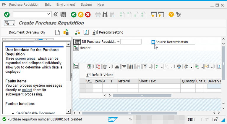 How to create purchase requisition in SAP using ME51N