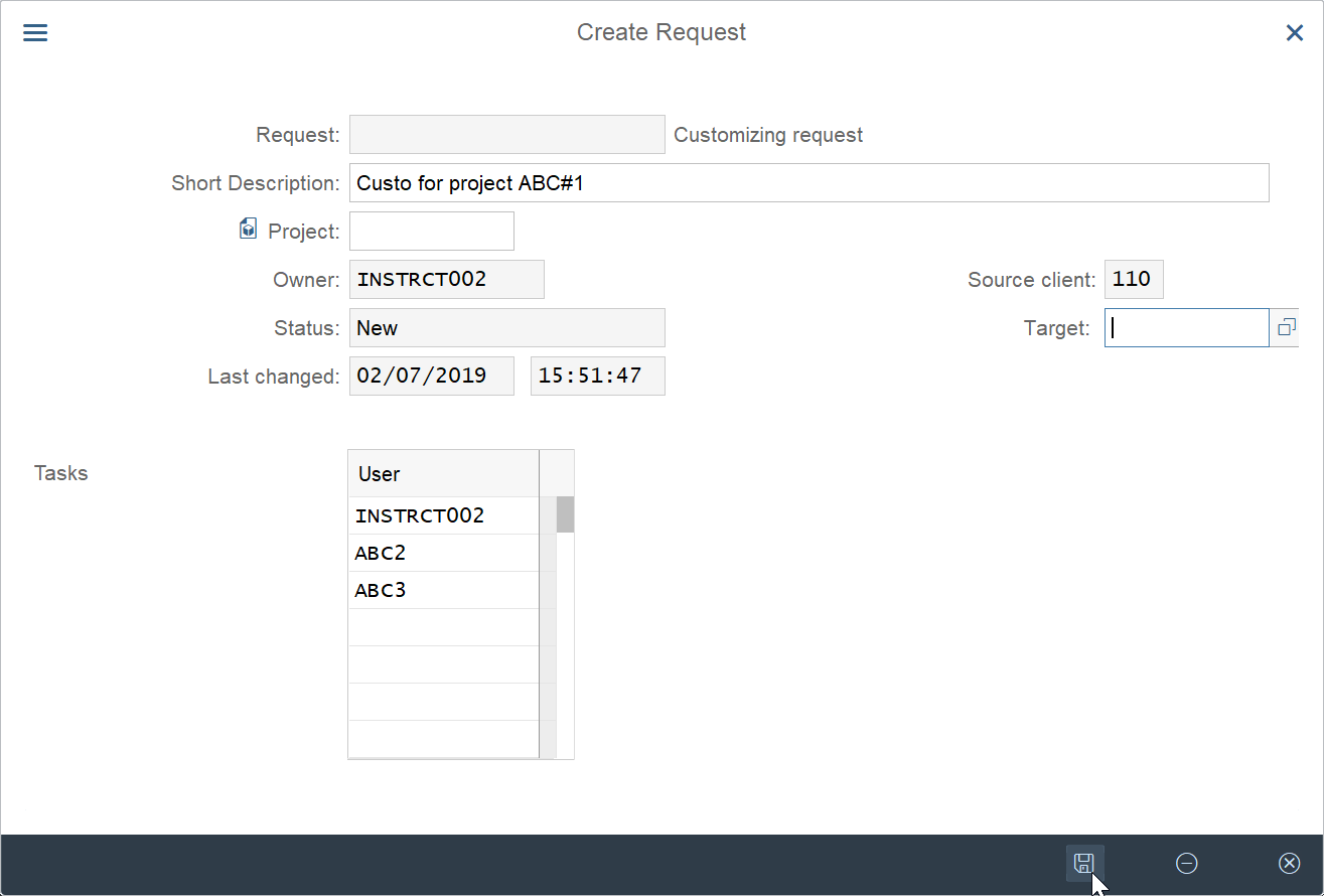 How to create customizing request in SAP