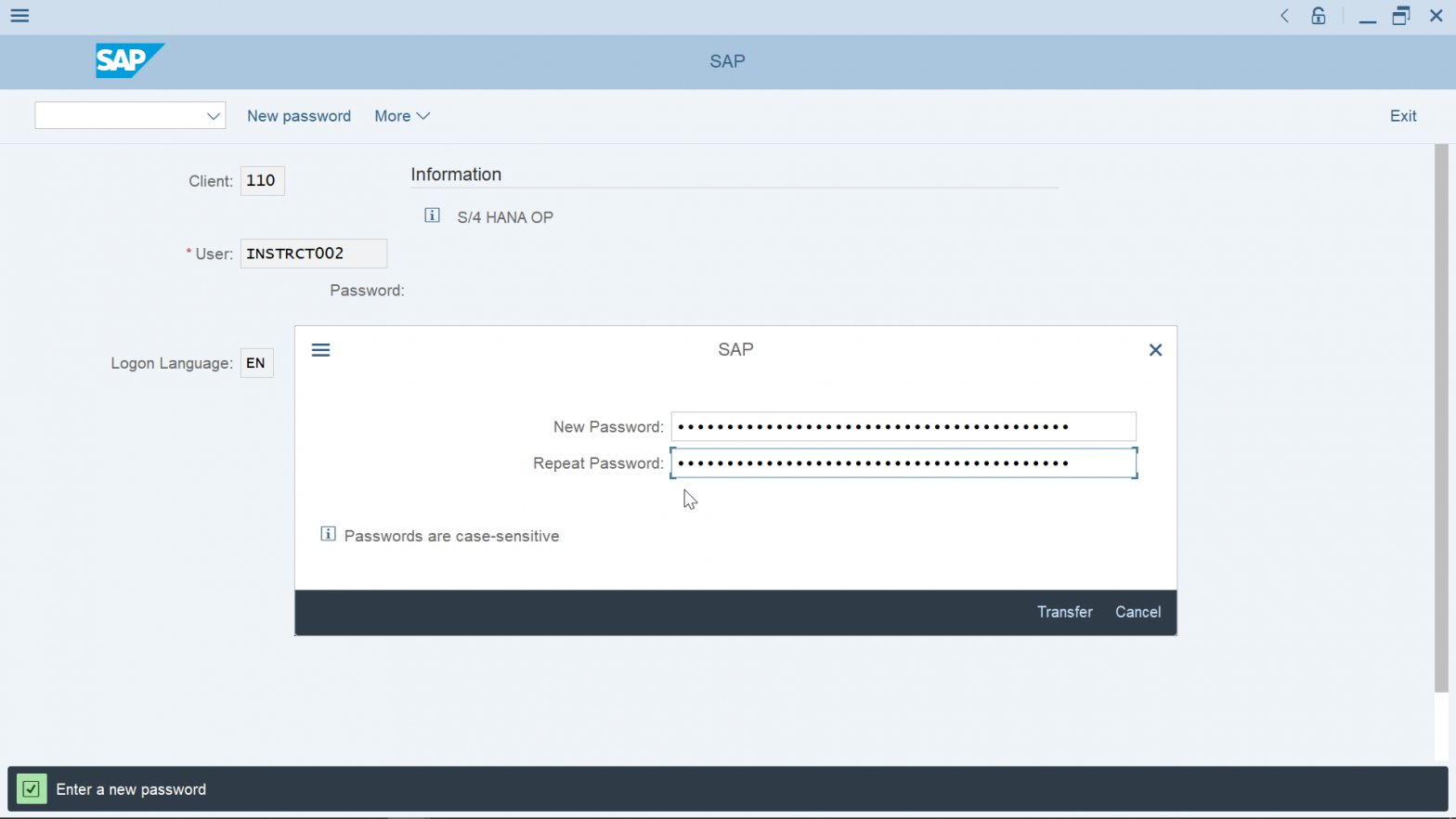 How to change password in SAP?