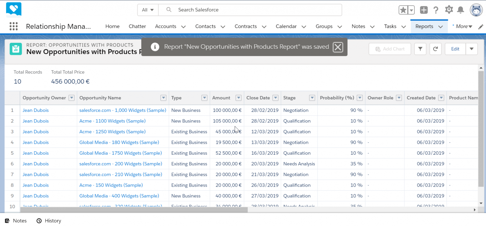 How to create a report in SalesForce?