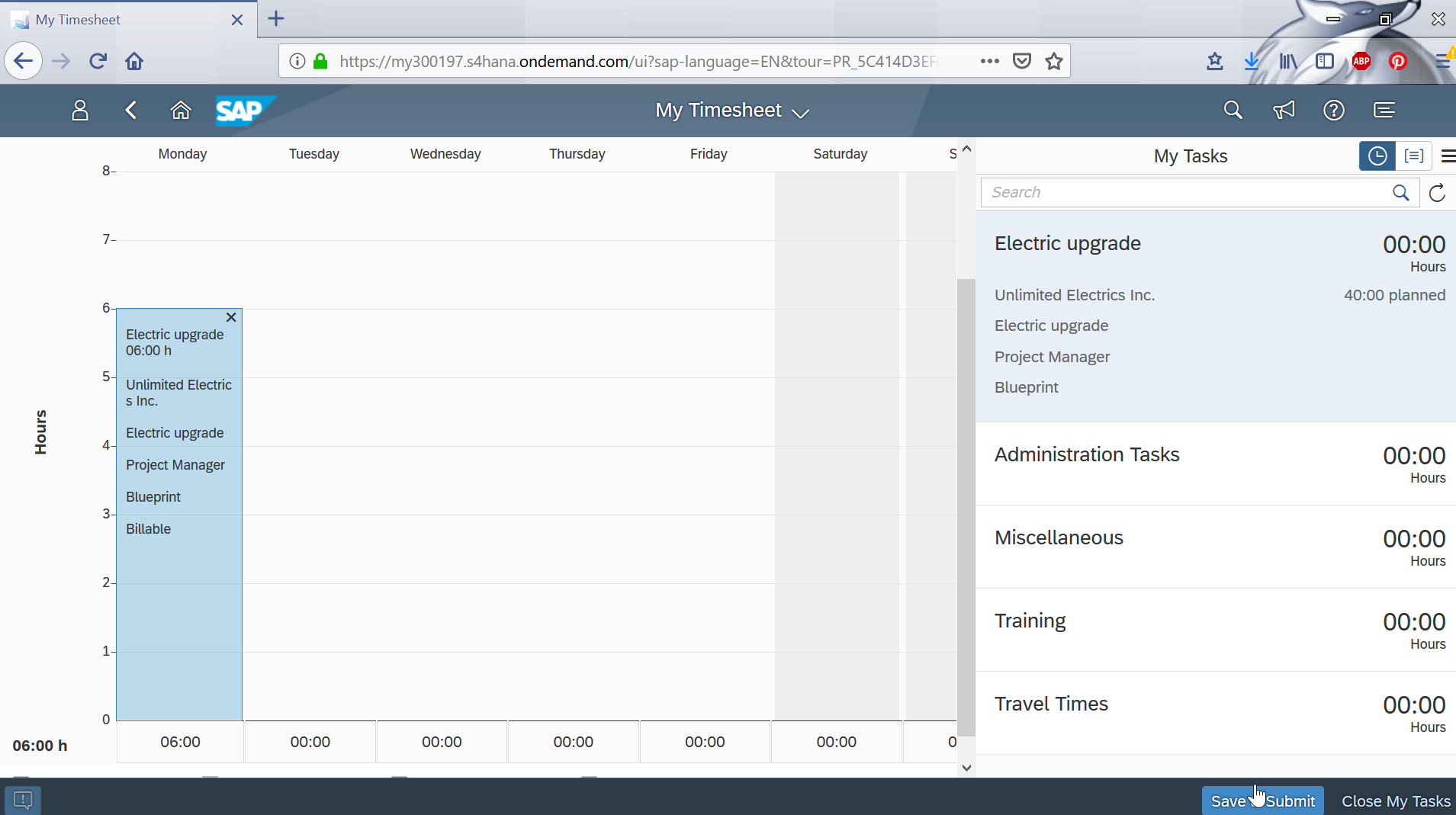 Manage my timesheet and event-based revenue recognition in SAP Cloud